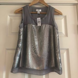 Loft silver grey sequined sheer lined tank